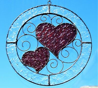 Hand crafted stained glass sun catcher. Hearts in Circle.