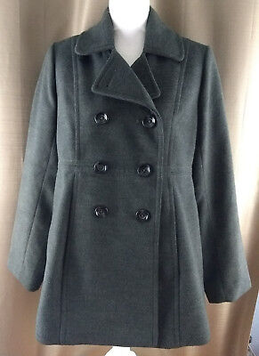 Motherhood Maternity Gray Button Front Peacoat Size Medium Lined