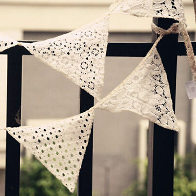 White Lace Cotton Fabric Vintage Handmade Triangle Bunting Banner GX