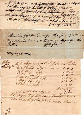 18th Century, Worcester, Mass. , documents and  receipts, signatures, Dr. Green