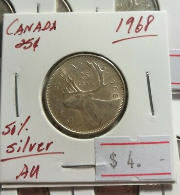 Canada 1968 25 cents (for 1) QEII Silver Quarter Really Nice High Grade Coin