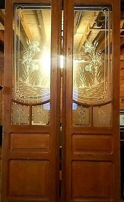 Great Pr Ofvictorian Art Nouveau Etched Cut Glass Doors