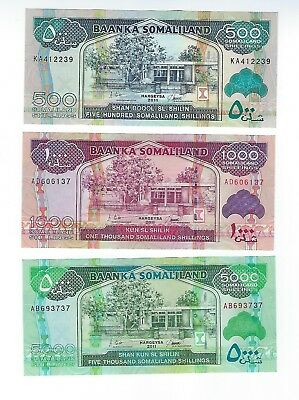 Somalia  Set Of Three    500 ,1000 And 5000 Shillings,  2011 Issue,  Nice Unc