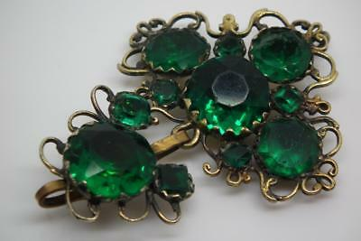 Antique Early Georgian Green Foiled Paste Closed Back Silver Gilt Pendant