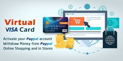 $200.00 Virtual VISA CARD used to Withdraw funds from your PayPal or Shopping