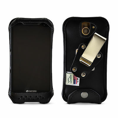 Kyocera DuraForce PRO 2  Fitted Case Black Leather Fitted Case Metal Belt Clip