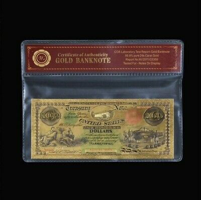 24K Gold Foil Plated 1864 $100 Gold Banknote Novelty Dollar With/coa Pouch