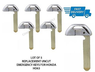 Lot of 5 New Uncut Emergency Key Blade Inserts Smart Key Proximity Key for HONDA