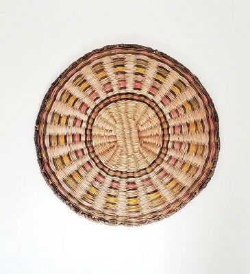 Antique Native American Hopi Wall Weave Basket Plaque from 1880s-1910s