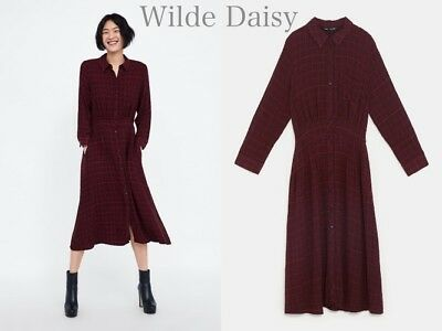 7275863a011 Zara New Checked Shirt Dress Long Midi Buttons Dark Red Collared Size Xs-Xl