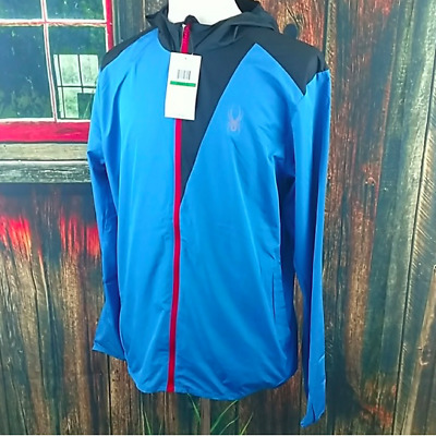 0e7c6dc4a671 Spyder Mens Blue Alpine Full Zip Hooded Jacket Windbreaker Size Large NWT