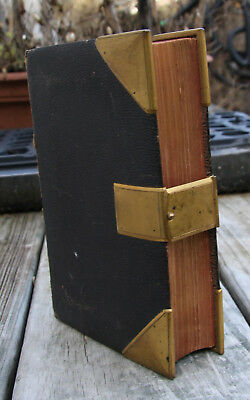 Antique c1865 Old & New Testament Holy Bible BRASS CLASP & CORNER COVERS 3 maps