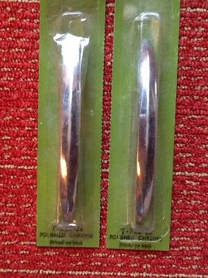 2 Vintage NOS Mid Modern Amerock T-326-26 Chrome Cabinet Drawer Handle Pull