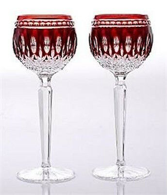 Pair Sparkling Waterford Clarendon Ruby Red Hock Stemware Wine Discontinued 1