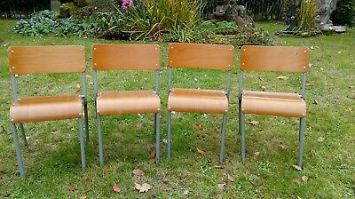 4 Vintage/Retro Child's Stacking School Chairs - Plywood / Metal Frame