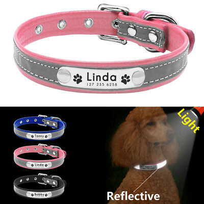 Reflective Personalized Dog Cat Leather Collar Custom ID Tag Engraved Necklace