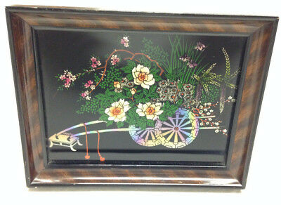 Antique Mother Of Pearl Inlay Flower Cart Framed Picture Tiger Wood  RARE JAPAN