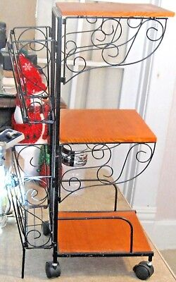 Vintage Plant Stand 3 Tier Wood Shelves Black Wrought Iron 4 Wheels 2 Front Lock