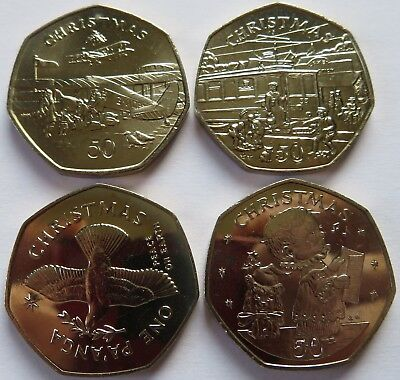 1985 + 1989 Christmas 50P Coins Set, Isle of Man, Gibraltar, Tonga Pa'Anga (0324