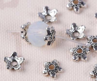 50pc 6mm Charms Tibetan Silver Flower Bead Cap Metal Spacer Beads Jewelry Making