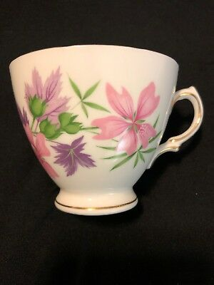 Very Rare Vintage Colclough Pink Purple Floral Design Footed Porcelain Cup