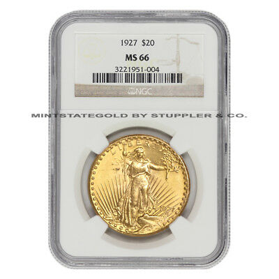1927 $20 Saint Gaudens NGC MS66 gem graded Philadelphia Gold Double Eagle coin