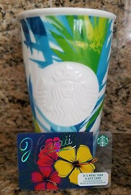 NEW Starbucks Hawaii Exclusive Ceramic Travel Tumbler Mug 12 OZ w/Gift Card
