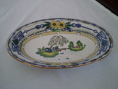 Antique Oval Celery Dish/ Bowl Blue/yellow- Bridge- Imperial Nippon-Japan-Marked