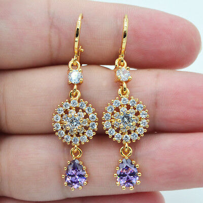 18K Yellow Gold Filled Zircon Topaz Amethyst Gemstone Luxury Earrings For Women