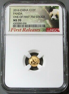 2016 Gold China 10 Yuan 1 Gram Panda Label Ngc Mint State 70 First Releases