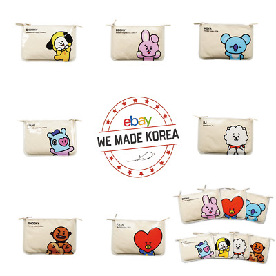 BTS BT21 Character PVC Slim Pouch Portable Cosmetic Bag Case K-pop Authentic MD