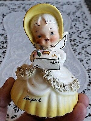Vintage Napco August Angel Birthday Bell of the Month 1956 Spaghetti Trim