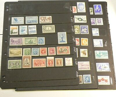 Canada 100 Stamps Mint Never Hinged from 1940s to 1970s #2412