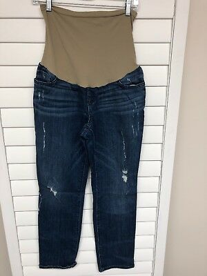 Women's Indigo Blue Distressed Maternity Denim Jeans Size Large L