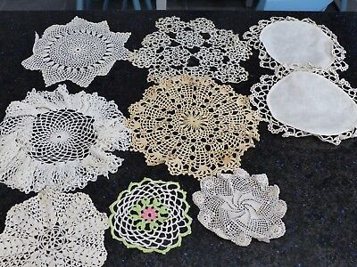 Vintage Lot of 9 Crocheted/Tatted Doilies,White, Ecru, Green, Various sizes