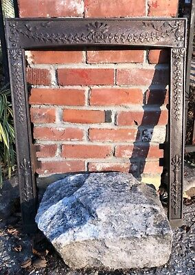 """Antique (1890s) Victorian Cast Iron Fireplace Mantle Surround """"Ribbons"""""""