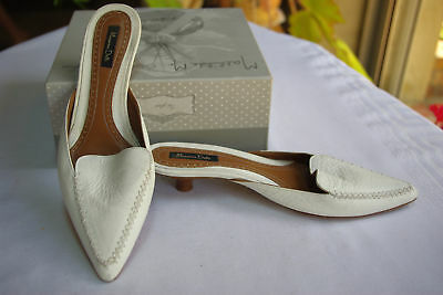 Backless shoe Sandals All Leather White MASSIMO DUTTI T 36 VERY GOOD CONDITION