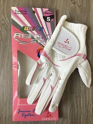 NEW Girls Golf Glove RH Rising Star Sz Small White/Pink