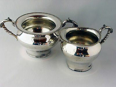Antique circa 1880's G. Weeton Mfg. Co. Beaded Cream and Sugar Set Silver Plate