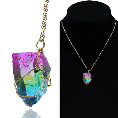 US Quality Jewelry Natural Crystal Necklace Irregular Rainbow Stone Pendant Gift