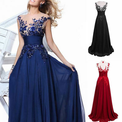 AU Women Lace Chiffon Bridesmaid Dress Ball Gown Cocktail Party Prom Dresses