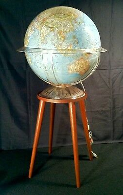 Vintage 1970 Replogle Mid Century Modern Illuminated 16 In World Globe W/ Stand