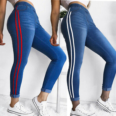 PLUS SIZE Women Leggings Skinny High Waist Jeans Trousers Denim Pencil Pants USA