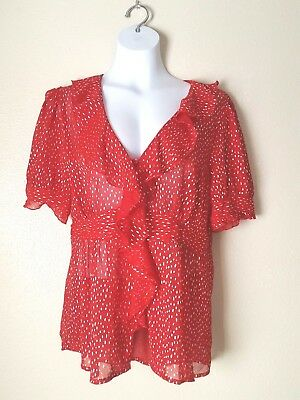 Studio 1940 Red Floral Blouse Dressy Top Size14 16w Women S 9 99