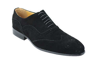 Mens Real Suede Leather Black Brogue Shoes Classic Retro Smart Causal Lace Up