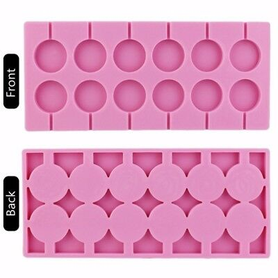 12 Round Shape Lollipop Silicone  Mould Tray Candy Chocolate Lollypop Mold #LK3C