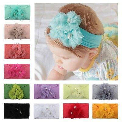 Baby Kid Girl Infant Elastic Hair Band Rose Flower Rhinestone Headband Headwear