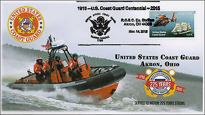 2015, US Coast Guard, 225 years, Akron OH, Pictorial Postmark, 15-246