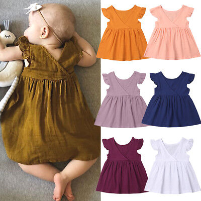 AU Toddler Kids Baby Girls Sleeveless Solid Cotton Party Dress Casual Clothes