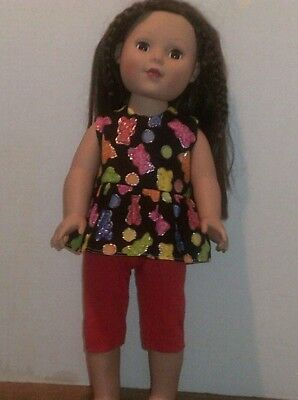 "18"" doll clothes-fit American Girl Boy  My Life-Top/Capri-Gummi Bear Red"
